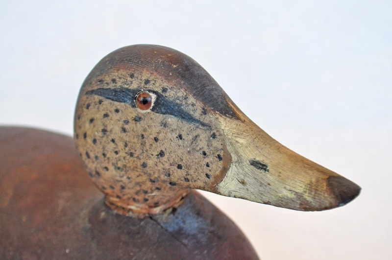 18. Carved painted grey speckled head duck decoy3.jpg