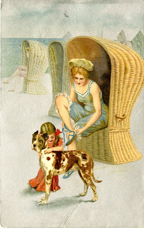 88. Beach Scene Postcard_Woman-Child-Dog_Front.jpg